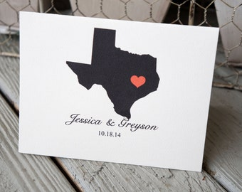 Personalized City and State Wedding Thank You Card, Custom Wedding Thank You Card