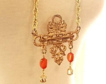 Long Boho Necklace - Statement Necklace - Orange and Crystal