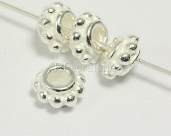 10pcs x Authentic Sterling Silver Daisy Flower Round Spacer Beads 5.5 x3.3mm/Very Heavy/#SS72