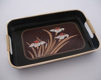 Asian Tray -  Black Lacquer - Mid Century - Retro Plastic Tray- Vintage Tray - Shabby Cottage