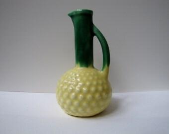 Vintage bud vase,  Yellow and Green Miniature pitcher, Retro Ceramic Knick Knack