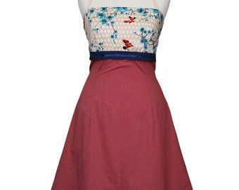 BIRDIE _ Dress with birds, swallows, red, rust, Japan, cherry blossoms, turquoise, spring, blue, summer dress, pattern