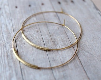Hoop Earrings, Large Gold Plated Hoops with Brushed Gold Vermeil, Gold Hoop Earrings, Hoops