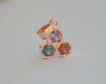 Rose Gold Hexagon Bezel Necklace with Ceylon Spinel