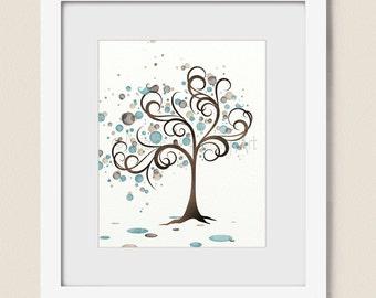 Blue and Brown Watercolor Art Tree Print, Whimsical Bird Family, 8x10 Watercolor Tree Art, Circles, Natural Colors, Nature Wall Decor (136)