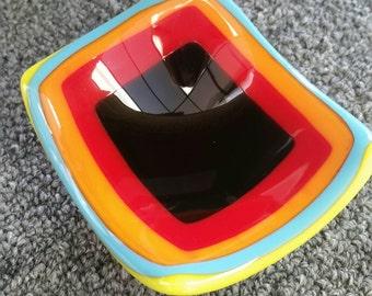 Colorful mini dish rainbow fused glass retro squares