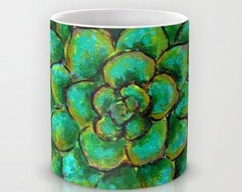 Succulent Mandala // Coffee Tea Hot Cocoa Mug with Desert Plant Agave Art