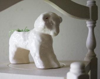 Vintage White Easter Lamb Planter | Art Pottery | Spring Decor | White Cottage | Garden Planter | Nursery Room Decoration