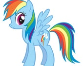 1 Sparkly Rainbow Dash Sasha Banner and 2 Cake Toppers