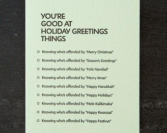 holiday greetings: you're good at things. letterpress card. #386