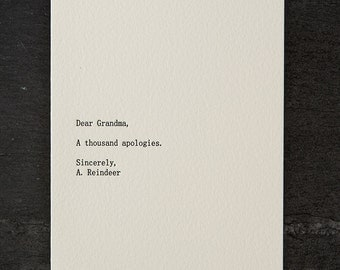 dear grandma. holiday. letterpress card. red envelope. #265