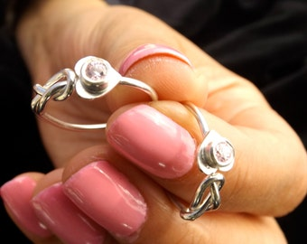 Sterling silver infinity knot heart ring mother's day ring bride maid ring best friend ring