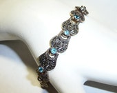 Vintage Sterling Silver Marcasite and Blue Topaz Link Bracelet on Etsy by Apurplepalm