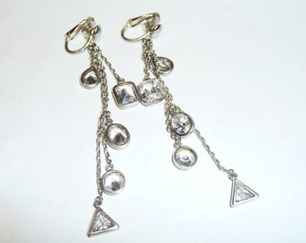 Sterling Silver and Crystals Dangle Shoulder Duster Earrings on Etsy