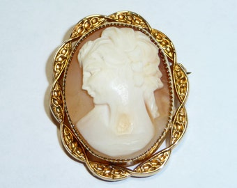 Vintage Carved Shell Cameo Brooch 12K GF on Etsy