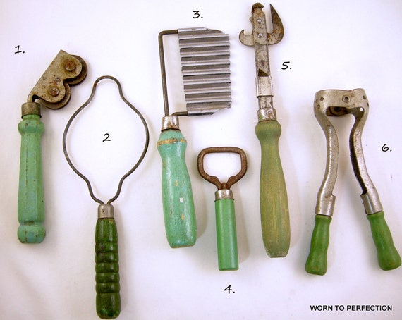 Vintage Kitchen Utensils and Tools Green by worn2perfection