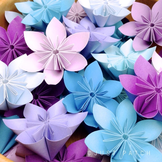 Purple and Blue Theme - Origami Flowers - 20pcs