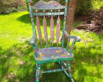 Rocking Chair  'Ocean Girl' Whimsical ART Rocker Gypsy BoHo Vintage PAINT to ORDER Poppy Cottage Hand Painted Custom Furniture