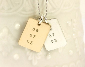 Special Dates Necklace - Hand Stamped Date Necklace - Birthdate Necklace - Memorial Jewelry - Gold and Silver Necklace - Personalized Dates