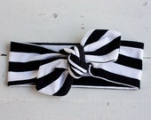 Black/White Stripes - Jersey Headband // Knot Headband // Jersey Knit //Head Wrap // Tie Headband- for all ages