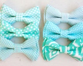 Beau- boy's mint collection double stacked bow ties- (clip or strap selection)