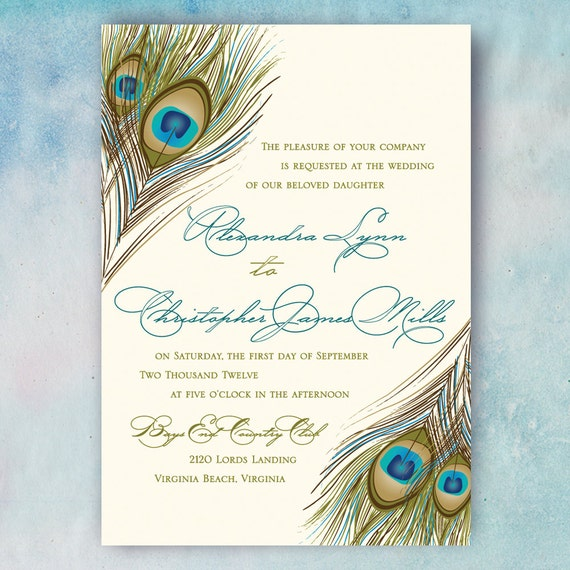 Wedding Invitation, Digital File or Printed, Letterpress, Gold and Silver Foil Printing, Engraving, Peacock Feather, Script