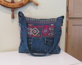 EVERYTHING ON SALE !! clearance priced - Handmade Pink Leather and Denim Jacket Handbag - Tote Bag