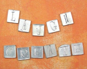 """Pewter Letters """"CREATE"""" and """"LAUGH"""" for embellishments 60% off, qty 11"""