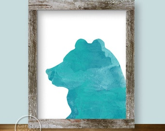 Turquoise Bear Watercolor Silhouette Printable Art 8x10