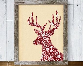 Red Deer Wallpaper Silhouette Printable Art 8x10