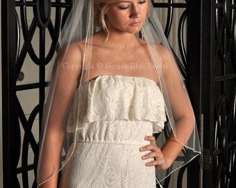 Bridal Veil - Crystal Veil, Rhinestone Edge Veil - Fingertip Veil - White, Diamond White, Light Ivory, Ivory, Champagne or Blush