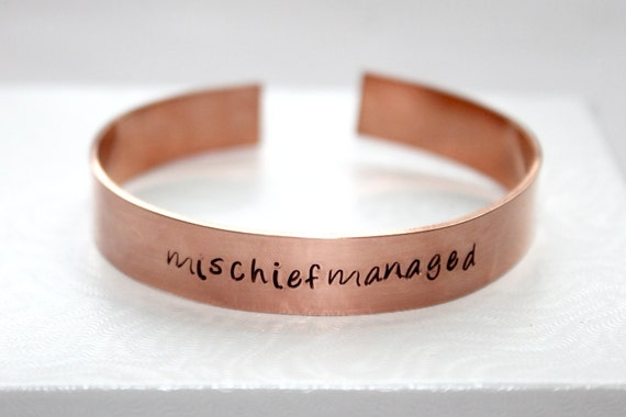 Mischief Managed Quote, Potter Inspired, Hand Stamped Bracelet, Copper Bangle