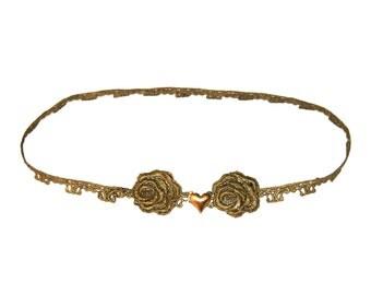Gold lace belt. Flower belt, wedding belt, bridal belt, heart belt.