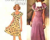 70s Short or Maxi Dress Simplicity 5974 Sewing Pattern, Size 12, Bust 34