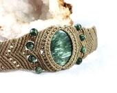 Seraphinite Beaded Micro Macramé Cuff Bracelet