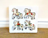 Vintage Carousel Horse Ornaments, Carousel Horses, Ceramic Carousel Horses, Christmas Ornaments, Supplies, White Horses, Horses. Figurines
