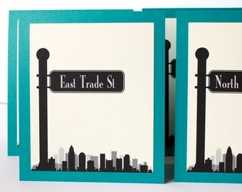 Charlotte Table Number Skyline Street Sign Travel Wedding Your City Globe Trotter Custom Tented Reception