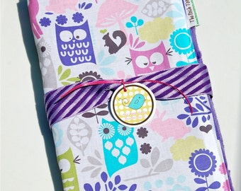 Baby Girl Blanket - Forest Life Purple with Your Choice of Minky - Baby Toddler Newborn