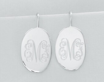 Engravable Sterling Silver Oval Earrings, Monogrammed Earrings, Personalized Earrings, Bridesmaids Jewelry, Wedding Jewelry, Mother of Bride