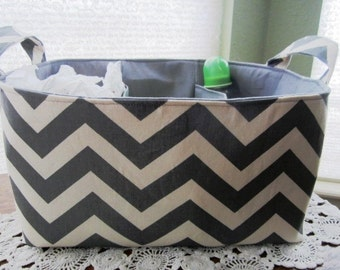 XL Diaper Caddy Basket Container Storage Chevron Gray Zig Zag
