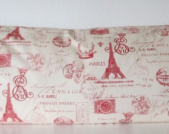 Pillow Cover - Eiffel Tower - French Stamp Red - french script - Cushion Cover