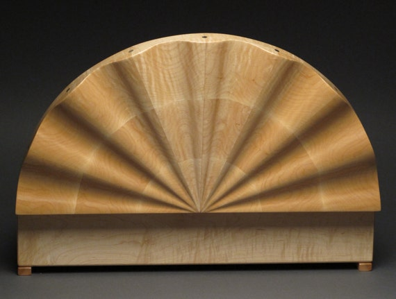 Custom Jewelry Box, Curly Maple, Sculpted Lid, Rotating Trays