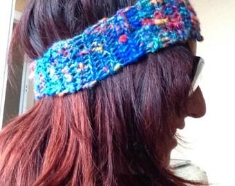Handspun crochet headband hair band ear warmer