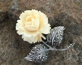 German sterling silver celluloid rose marcasite brooch
