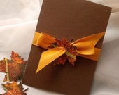 Leaf It Up To Me Too Autumn Hand Painted Leaf Booklet Style Invitation - Sample