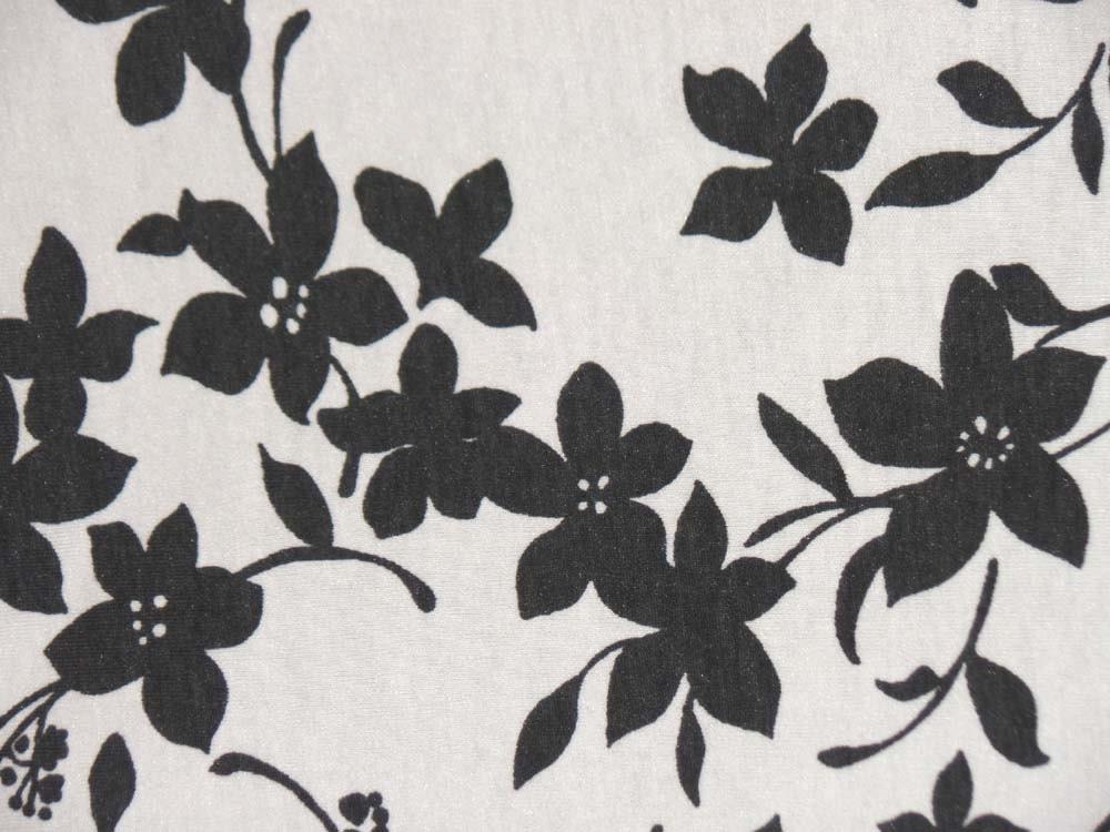 Kids cotton knit fabric charcoal flower floral stretchy for Kids knit fabric