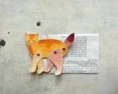 articulated paper cat decoration tangerine and marsala Cat Art original illustration  -   the Frea(K)cat - ooak -