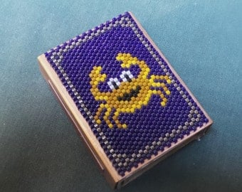 Peyote Beadwork Matchbox cover holder beaded copper sleeve Alaska State Flag Big Dipper in Navy blue and gold plate seed bead