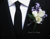 Lavender Rose Boutonniere, FFT exclusive, Silk Wedding Flowers Groom Groomsmen Accessory Purple Creamy White
