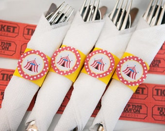 Carnival Birthday Party - Napkin Rings - Silverware Wraps - Circus Party Decorations - Carnival Decorations - Circus Birthday Party (12)